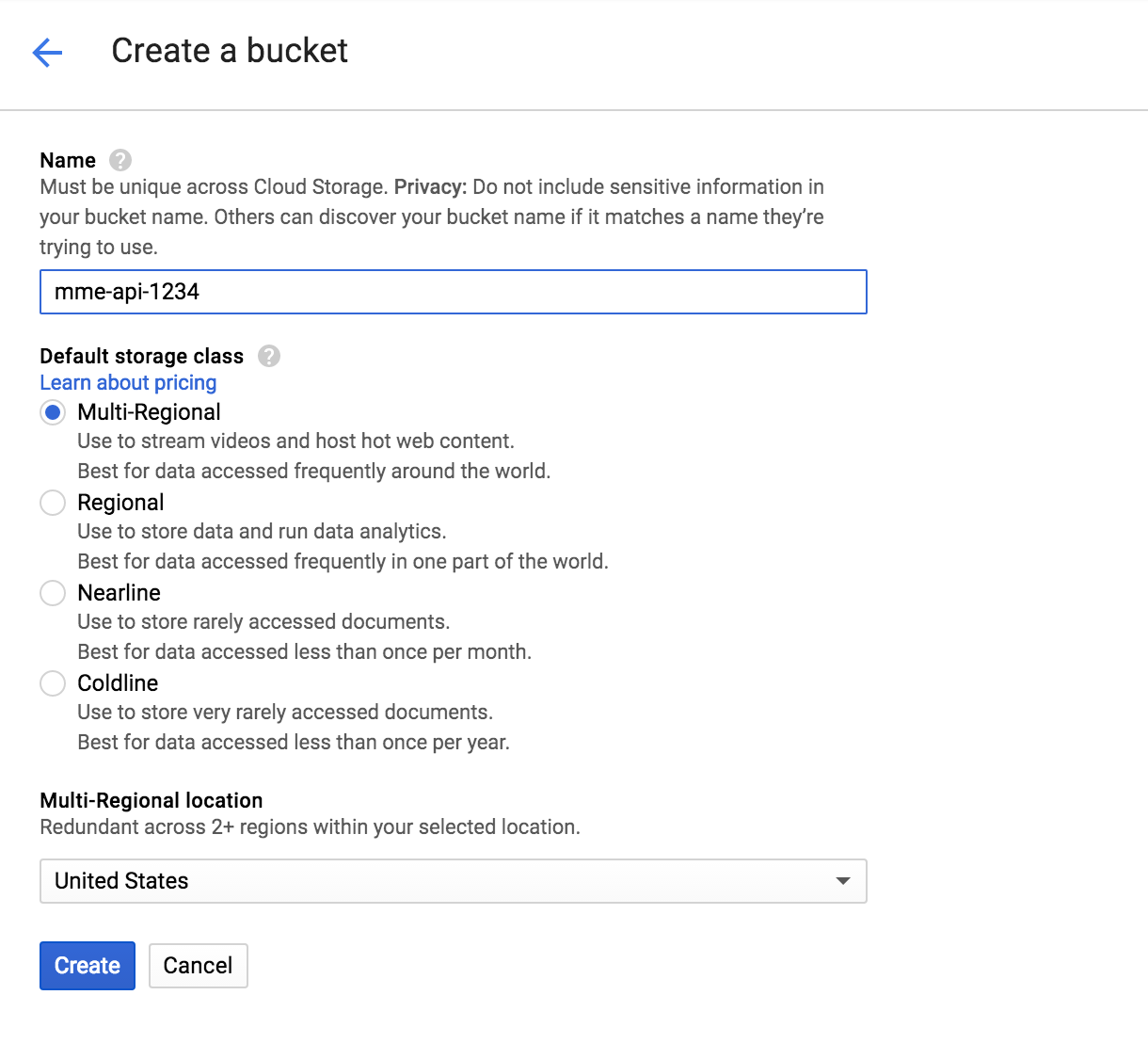 Image result for google Multi-Regional bucket